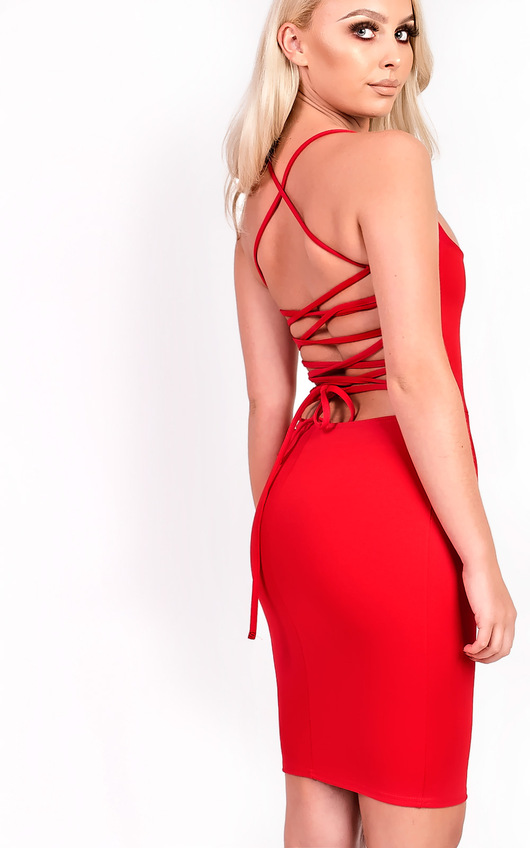 c3fb8dcccafd Jenna Strappy Lace Up Bodycon Dress in Red