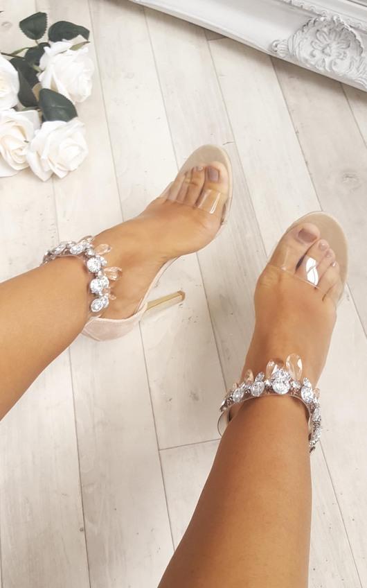 5cc37193ca Jessi Jewelled Clear Strap Heels in Cream | ikrush