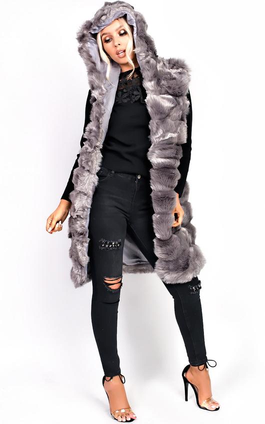 d70eea1455e1 Karla Faux Fur Hooded Waistcoat in Grey