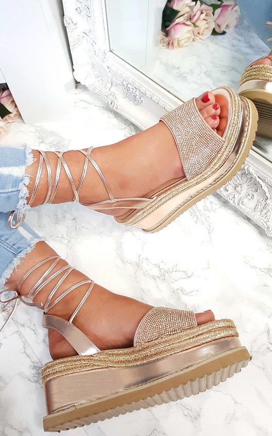 8d5d7fafd3e6 Adalyn Metallic Diamante Lace Up Wedge Sandal in Rose gold