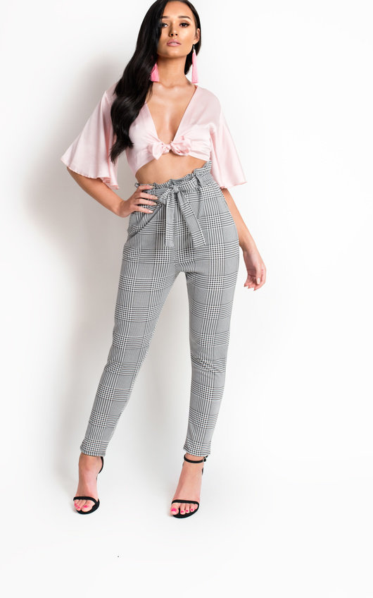 32776ef2 Alba Paperbag Check Trousers in Check | ikrush