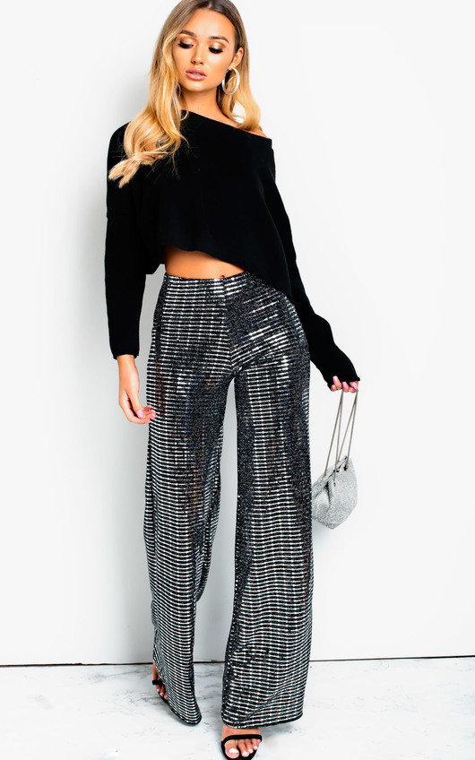 711f4194375457 Amalia Sequin Flare Trousers in Black   ikrush