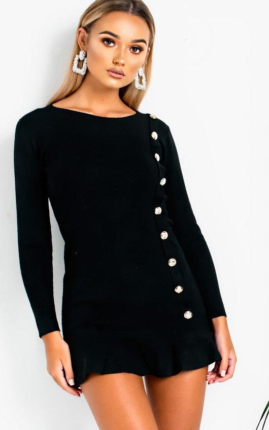 Amanda Peplum Knit Dress In Black Ikrush