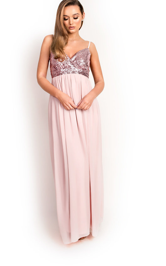 712d5318d576 Amelie Sequin Floaty Maxi Dress in Pink