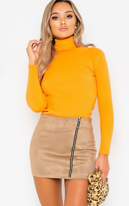 998d9d7384 Andi Zip Up Faux Suede Skirt in Nude | ikrush