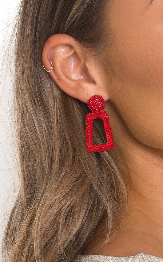Red Drop Statement Earrings