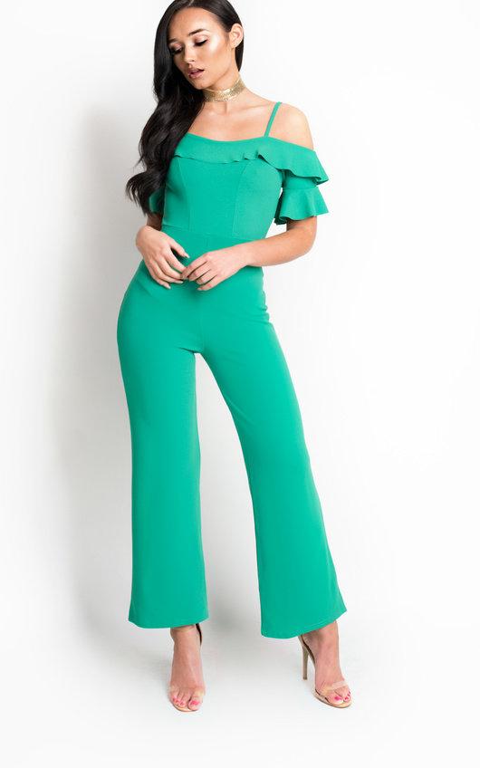 ae668cf77793 Aretha Bardot Frill Jumpsuit in Green