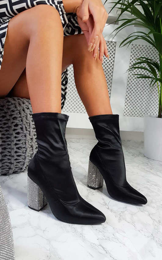 e1d0e743b59 Ari Diamante Embellished Heeled Boots in Black