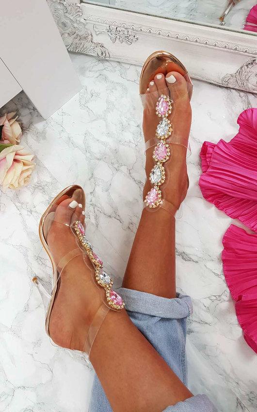 40d79797ae9 Ariana Embellished Perspex Heels at ikrush