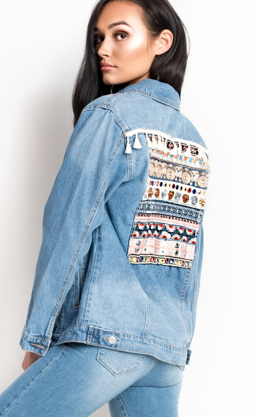 2040e4fbd2 Arlo Embroidered Sequin Long-lined Denim Jacket. HOVER ITEM TO ZOOM
