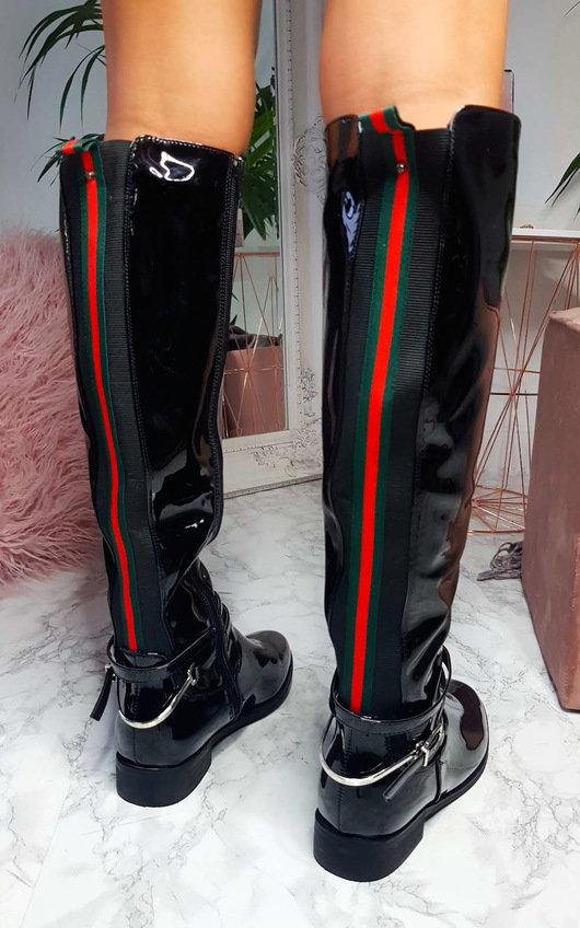 ebfb6152fb6 Aubrey Patent Knee High Stripe Boots