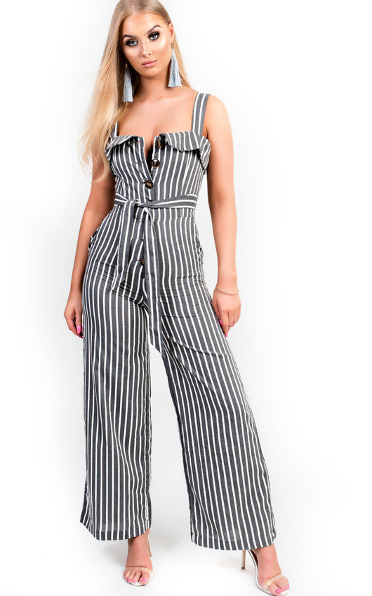 b1a41b2fee2 Ava Button Up Stripe Jumpsuit in Grey