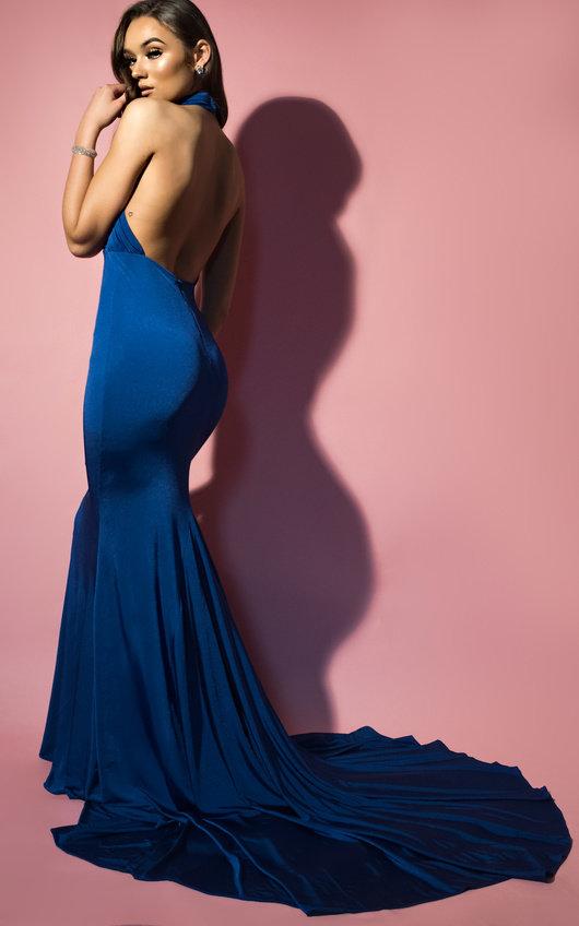 Avery Halterneck Backless Maxi Dress in Royal  239978a031af