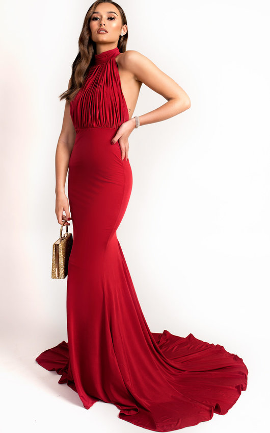 Avery Halterneck Backless Maxi Dress in Red | ikrush