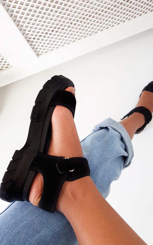 519d0dd94 Ayla Strap Chunky Sandals in Black