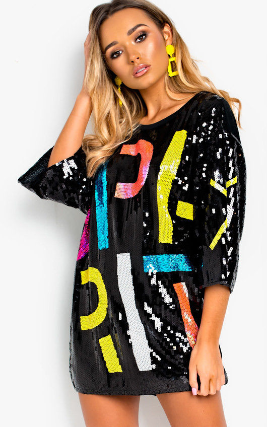 Bailey Sequin Oversized T Shirt Dress In Black Ikrush