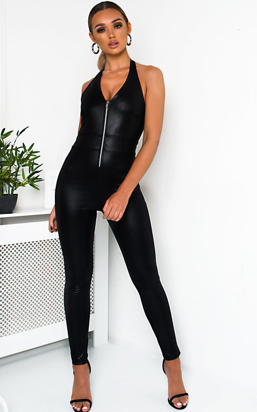 d7ca69ef2 Bella Faux Leather Zip Up Jumpsuit. HOVER ITEM TO ZOOM