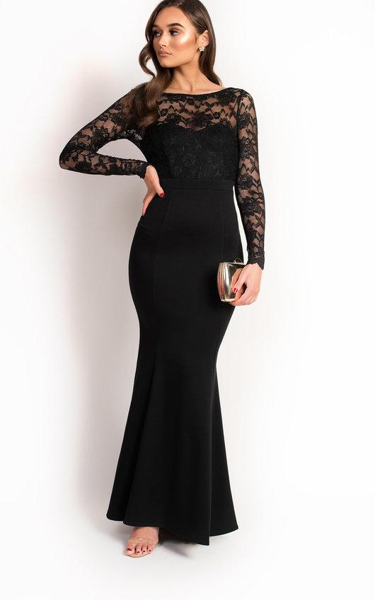 Bella Lace Fishtail Maxi Dress In Black Ikrush