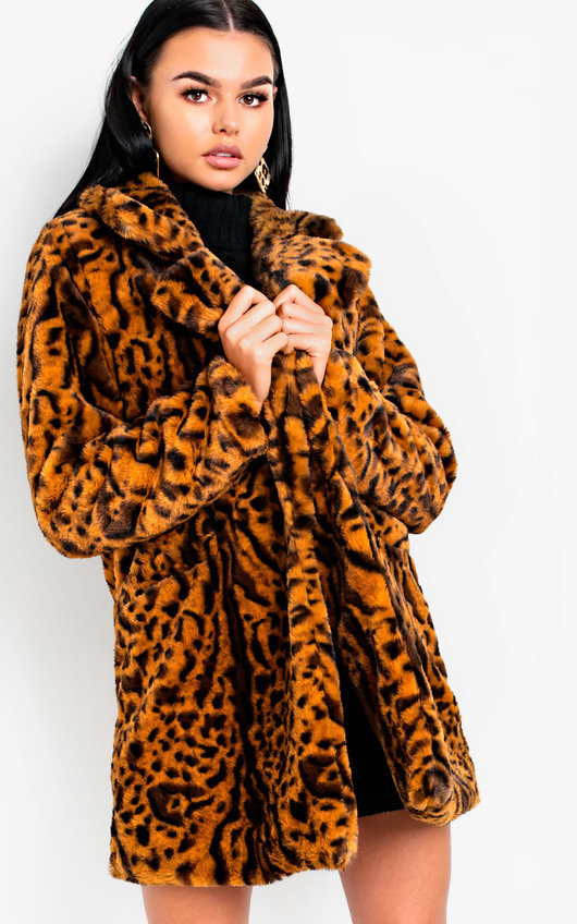 6f47469b2a7e Bianca Leopard Print Faux Fur Coat in Camel | ikrush