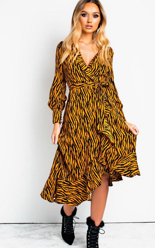 d5c6f669e43 Bianca Printed Maxi Frill Dress in Orange