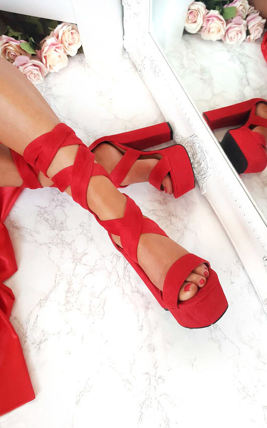 Binx High Platform Lace Up Heels In Red Ikrush