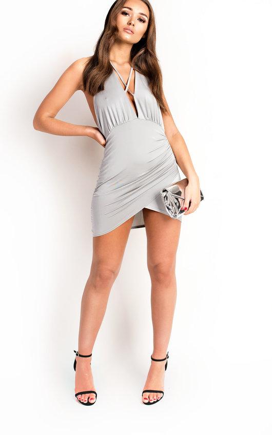 336bed51514d Blake Slinky Backless Bodycon Dress in Grey | ikrush