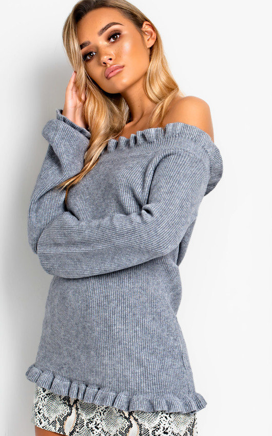 Camille Frill Off Shoulder Knit Jumper in Grey  17cbedd87