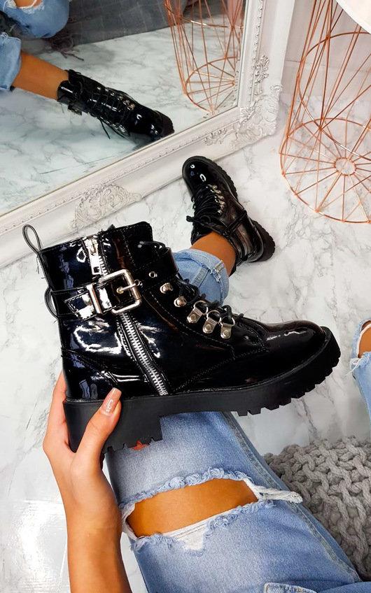 Candice Patent Buckle Biker Boots In Black Pat Ikrush