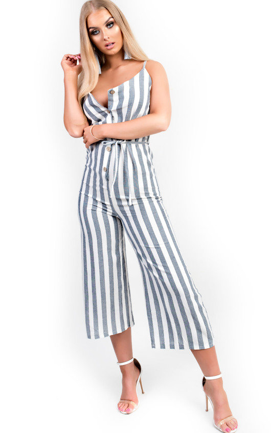 74b2ebf85e9c Cassidy Button Up Stripe Jumpsuit. HOVER ITEM TO ZOOM