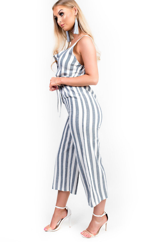 a4ea2d4ada18 HOVER ITEM TO ZOOM. Cassidy Button Up Stripe Jumpsuit Thumbnail