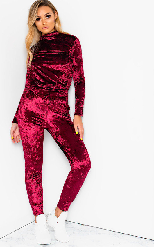 9aaae4d59a3810 Cecily High Neck Velour Tracksuit in Wine
