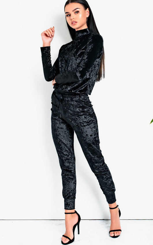 ad5c2216963599 Cecily High Neck Velour Tracksuit in Black