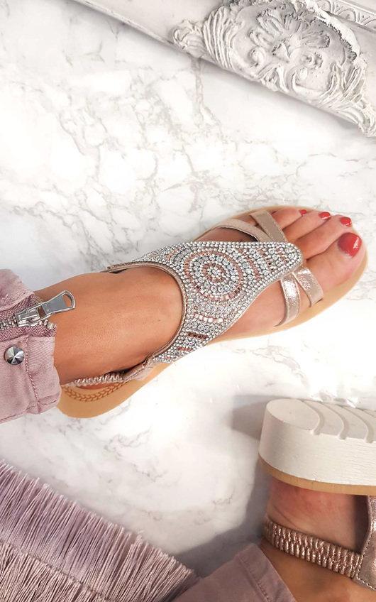 9e9e78d34f2b Chloe Diamante Embellished Sandals in Rose gold