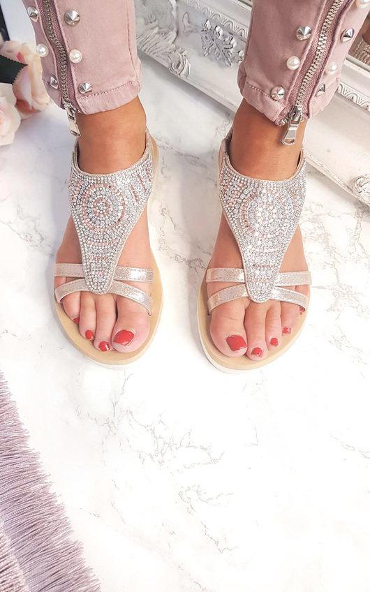 55efdec1d3e1 Chloe Diamante Embellished Sandals in Rose gold