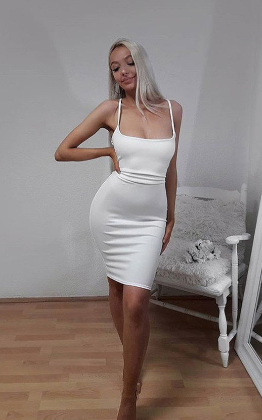 848b476acea4 Cindie Backless Strappy Bodycon Dress in White | ikrush