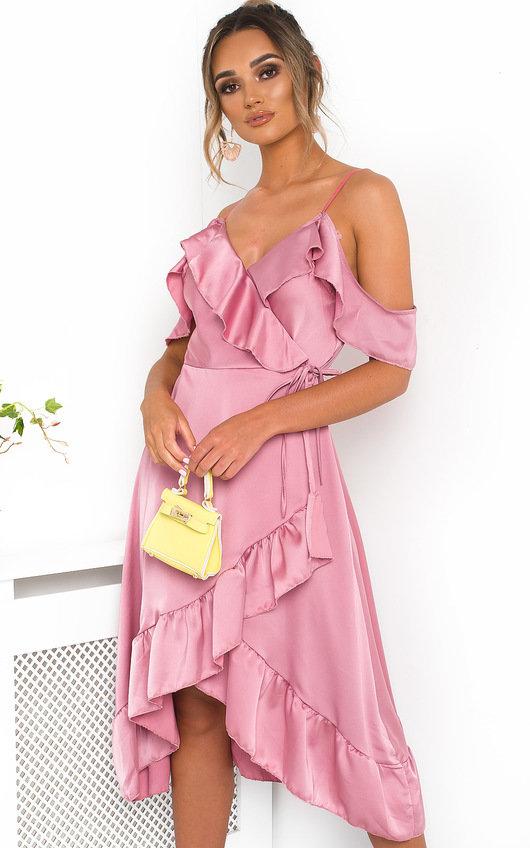 54306aa5c8f2 Clara Frill Satin Wrap Dress. HOVER ITEM TO ZOOM