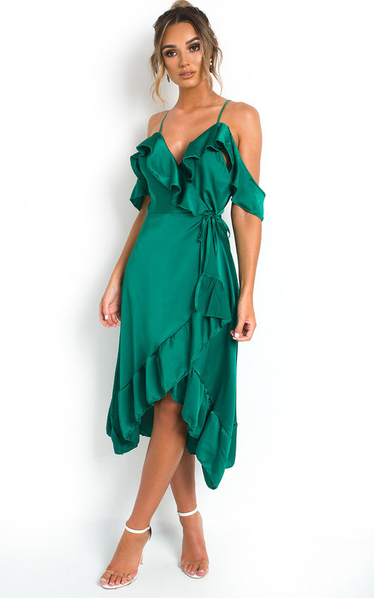 1ee848a7b1969 Clara Frill Satin Wrap Dress in Green | ikrush