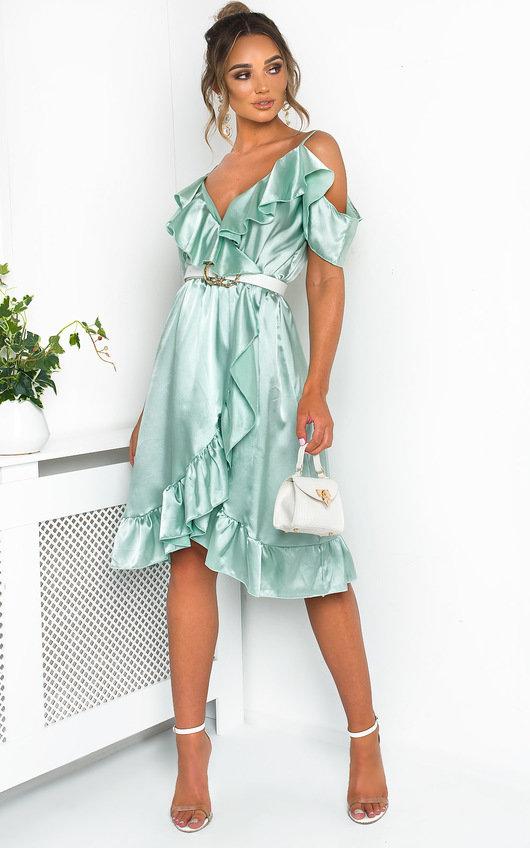 801446fad57cb Clara Frill Satin Wrap Dress in Mint | ikrush