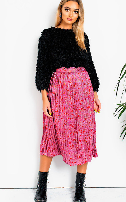 a116d7dbaac9 Cora Shimmer Pleated Hearts Midi Skirt in Pink | ikrush