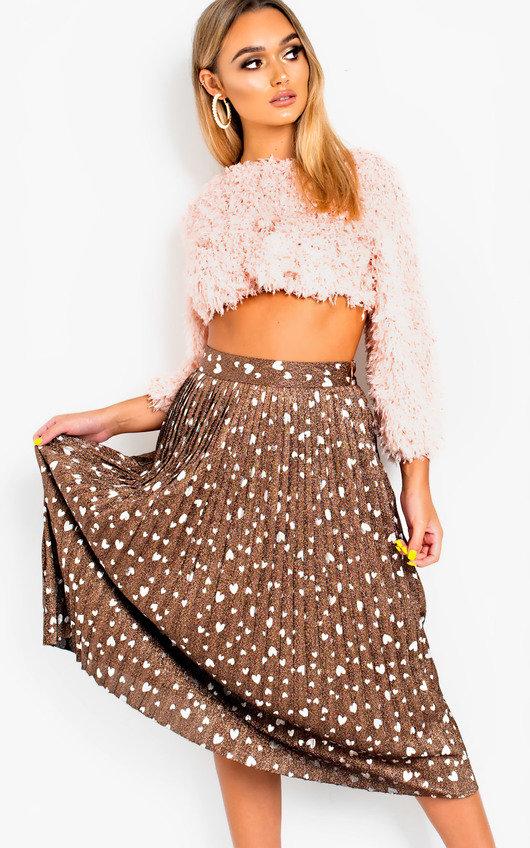 c0ed148ada9f Cora Shimmer Pleated Hearts Midi Skirt in Bronze | ikrush
