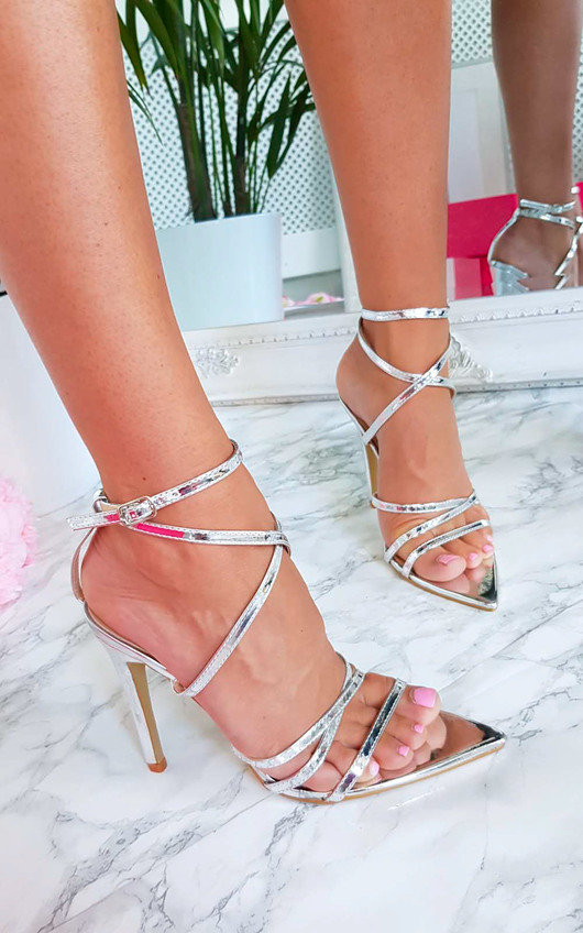 b542fe8ed87 Cora Strappy Patent Pointed High Heels in Silver