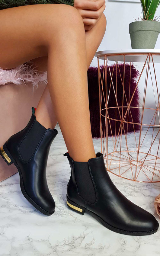 Daina Faux Leather Ankle Boots in Black