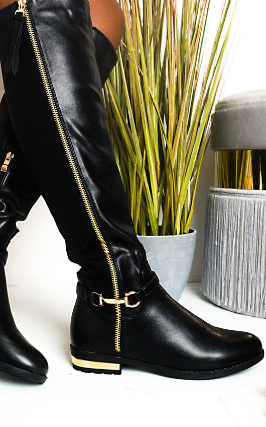 IKRUSH Iggy Buckle Knee High Boots   BLACK UK 4