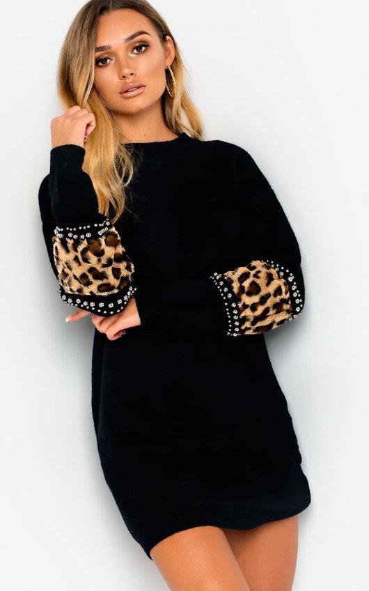 edfeef36ec Darcy Faux Fur Embellished Jumper Dress in Black