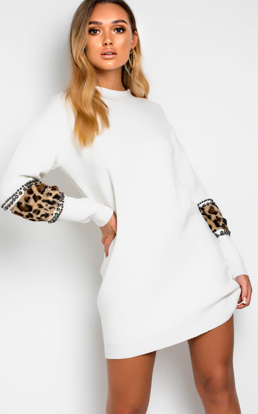 22b6935a95 Darcy Faux Fur Embellished Jumper Dress in White