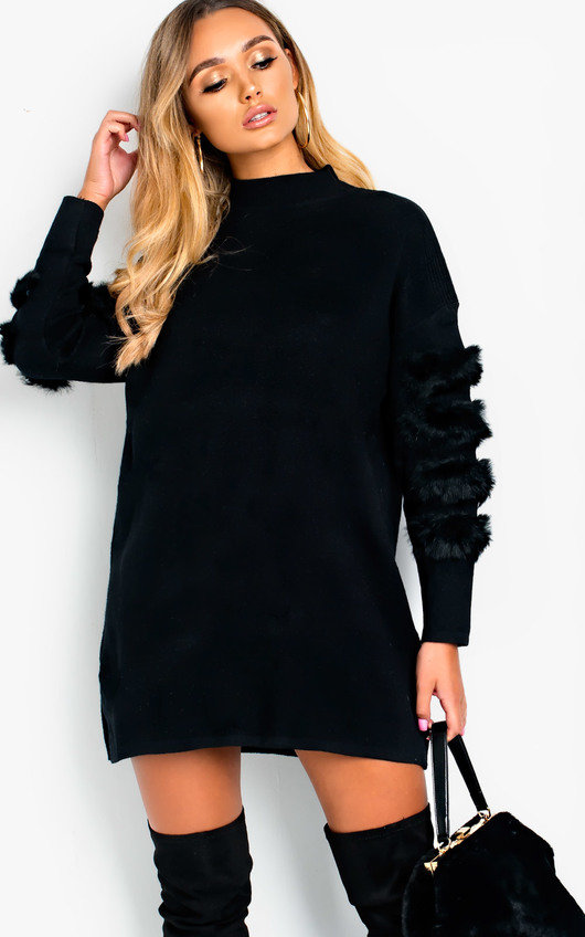 356814f675 Debbi Faux Fur Embellished Jumper Dress in Black