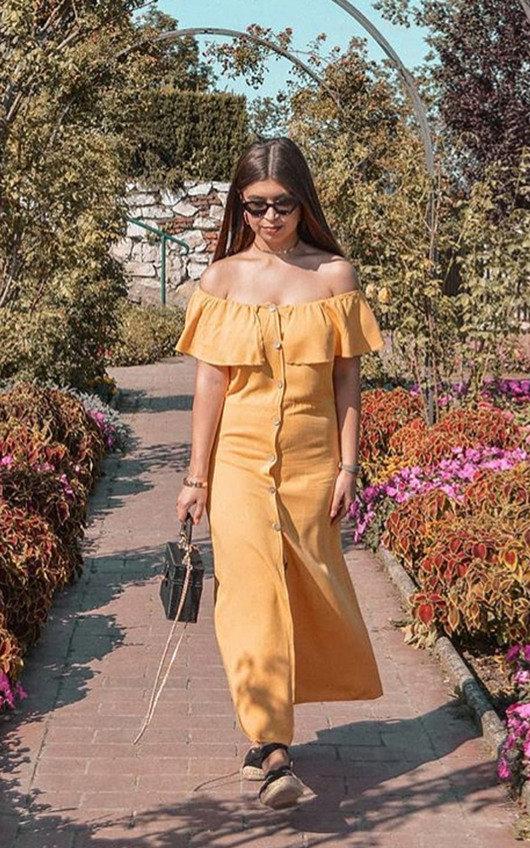 54906964b44b1 Delilah Off Shoulder Button Up Midi Dress in Mustard