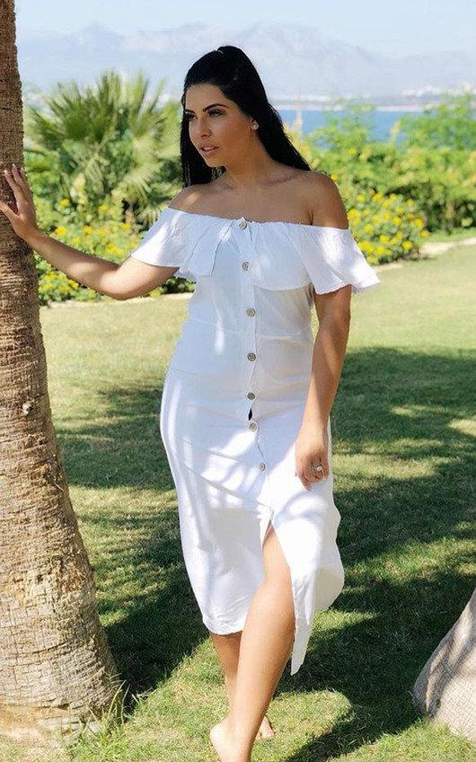 18e2d8f963d4b Delilah Off Shoulder Button Up Midi Dress in White
