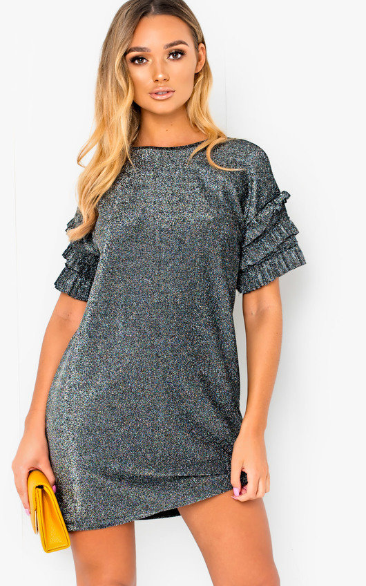 3b4cb8ed708 Delta Glitter Oversized T-Shirt Dress in Silver   ikrush
