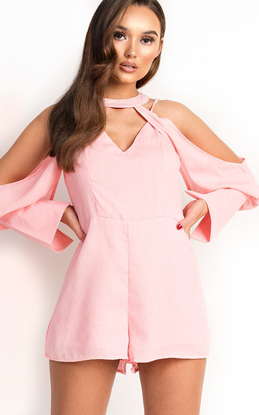 df63b4f6dd77d Eden Cold Shoulder Cut Out Playsuit in Pink